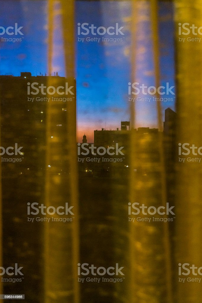 Door with Window Open Night Scene royalty-free stock photo