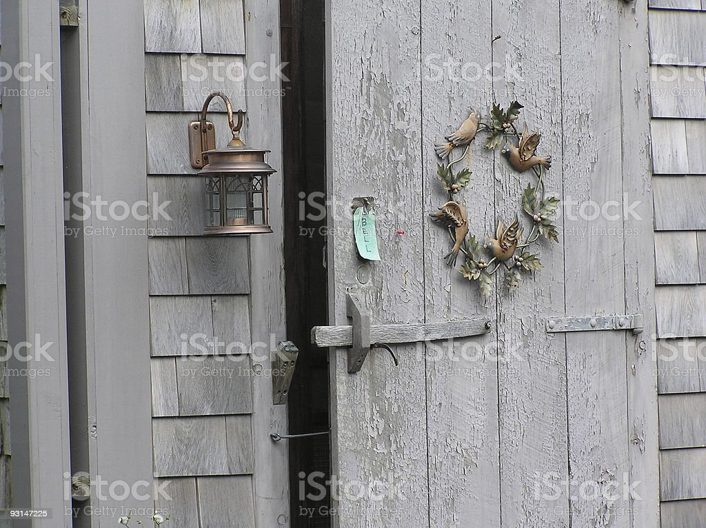 Door with Wreath stock photo
