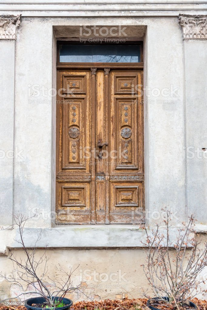 Door without stairs stock photo