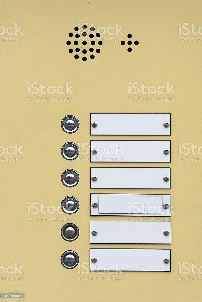 Doorbells and name tags royalty-free stock photo