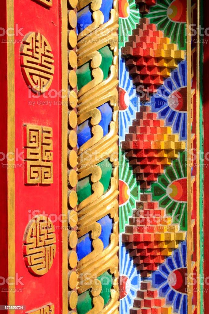 Doorcase Dekoration farbige Zeichnung oder Muster in einem Tempel, Closeup Fotos – Foto