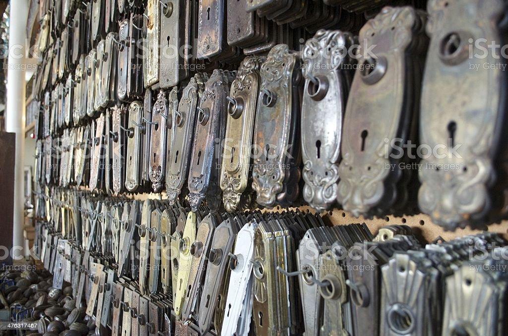 Doorknob plates stock photo