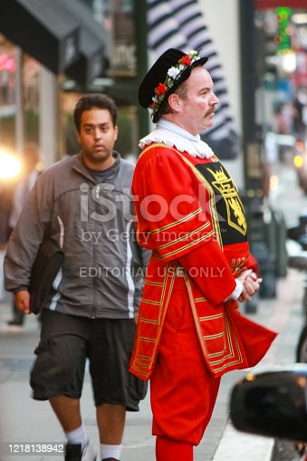 San Francisco, USA - Sept 24, 2008: Doorman of Kimpton Sir Francis Drake hotel in a beefeater suit welcomes guests on Sept 24, 2008 in San Francisco, USA.