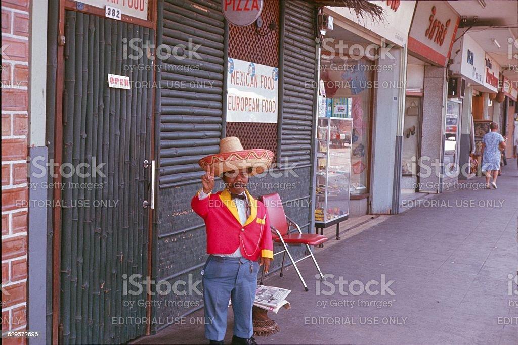 Doorman, Tijuana, 1976 stock photo