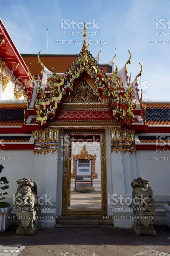 Doors and perspective at Wat Arun temple in Bangkok stock photo