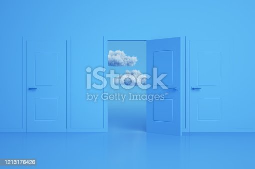 3d rendering of the open door and cloud. Decisions and choices concept. Blue colors. Minimal design.