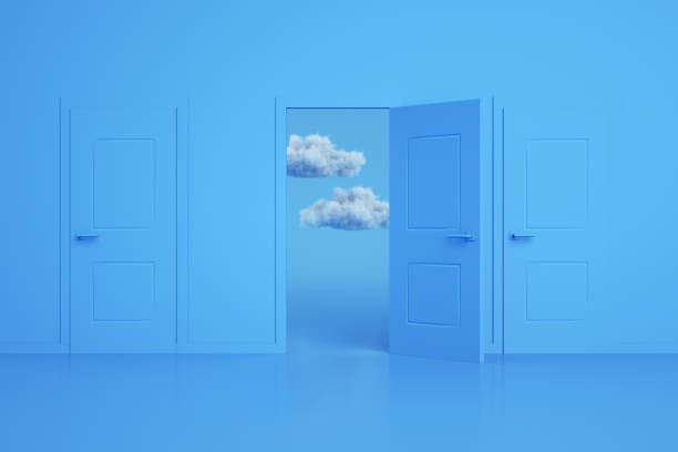 Doors, Decisions, Choices, Minimal Design with Cloud stock photo