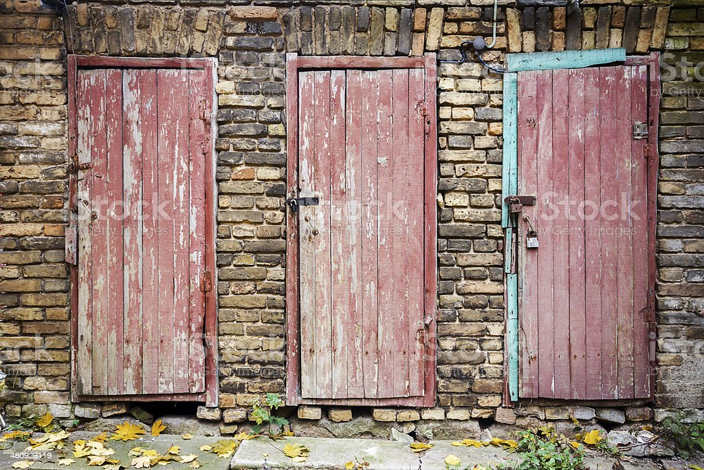 Doors in a wall royalty-free stock photo