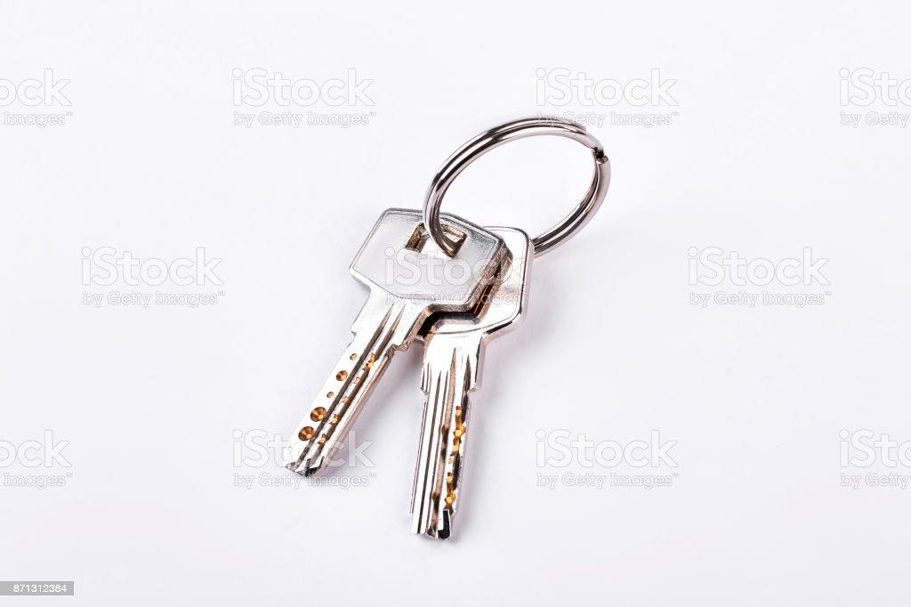 Las puertas las llaves aisladas sobre fondo blanco. - foto de stock