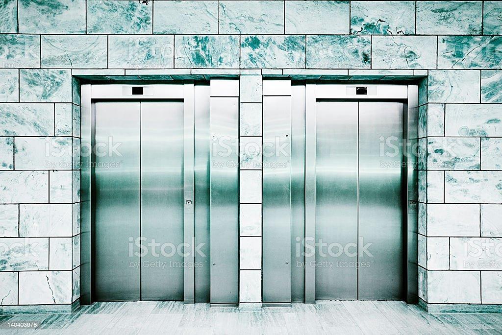 doors of a lift stock photo