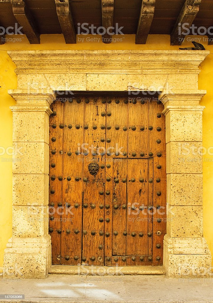Doors of colonial building in Cartagena, Colombia royalty-free stock photo