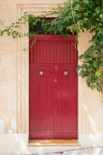 Valletta, Malta - September 6, 2015: the people in Malta paint their doors all kind of beautiful colors and use very interesting architecture so their houses are unique and famous for this . These houses are spread all around Valletta in Malta .