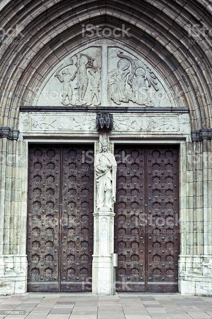 Doors of Uppsala Cathedral (Domkyrka) stock photo