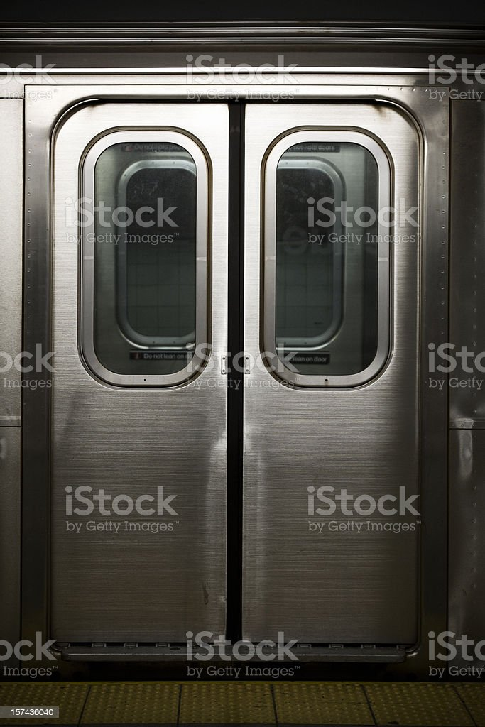 Doors to a Subway Train in New York, Nobody stock photo