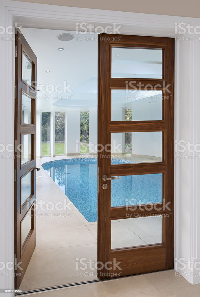 doors to an indoor pool royalty-free stock photo