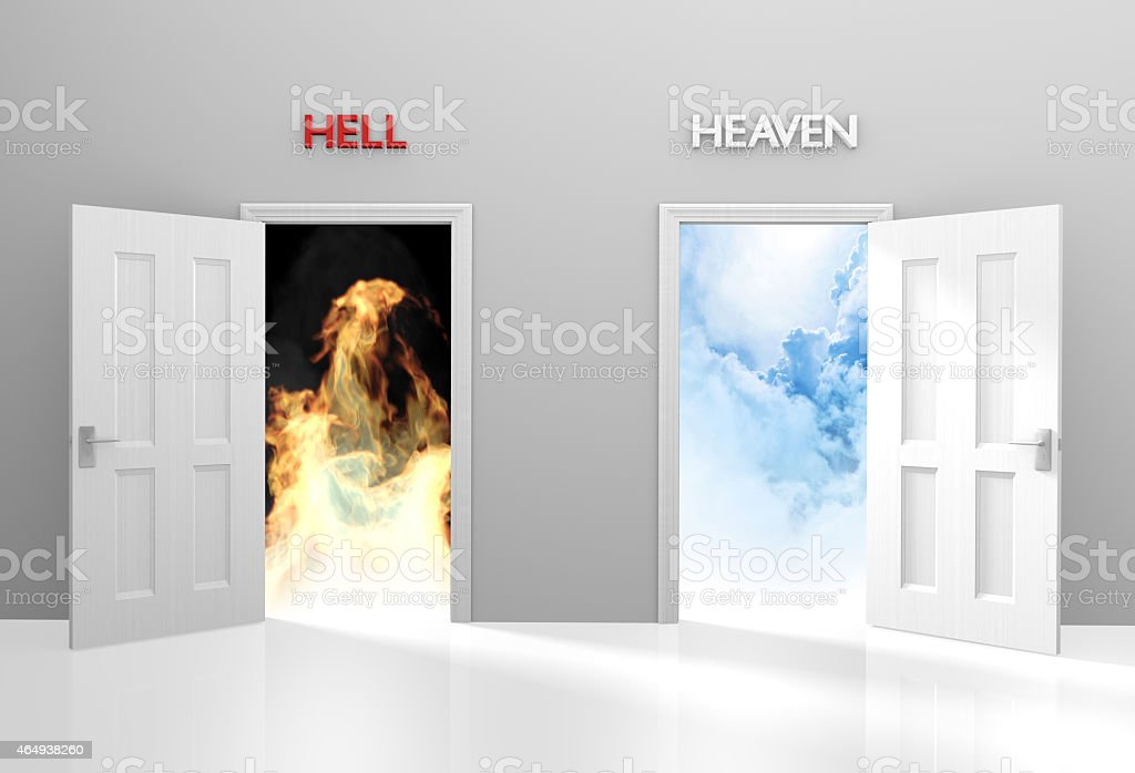 Doors to heaven and hell representing Christian belief and afterlife stock photo