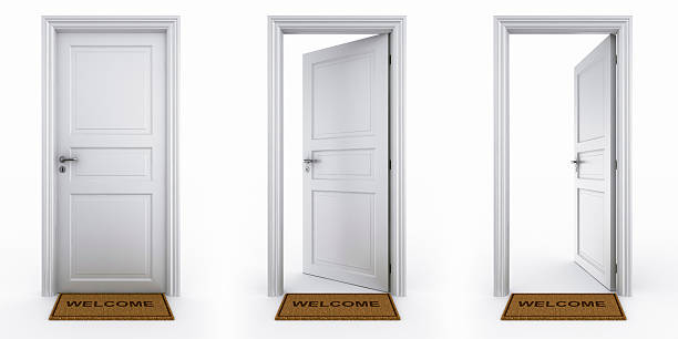 Doors with welcome mat 3d rendering of a dor in three stages with welcome mat doorway stock pictures, royalty-free photos & images