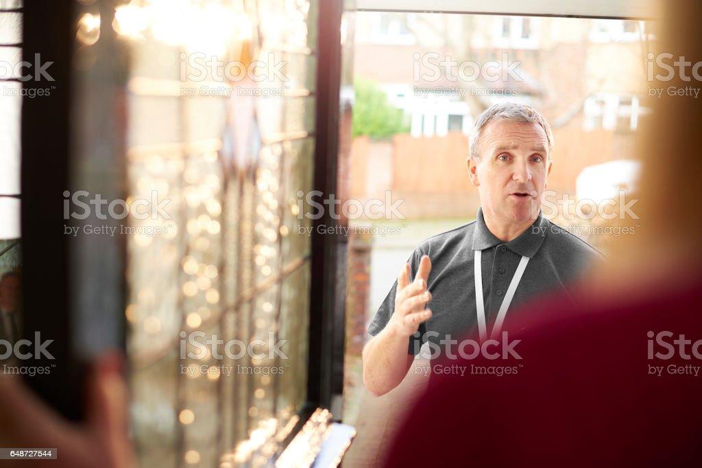 doorstep advice stock photo