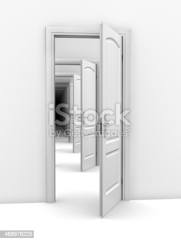 istock doorway abstract illustration - opportunity, frustration, infinity 3d concept 488978225
