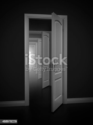istock doorway abstract illustration - opportunity, frustration, infinity 3d concept 488978229