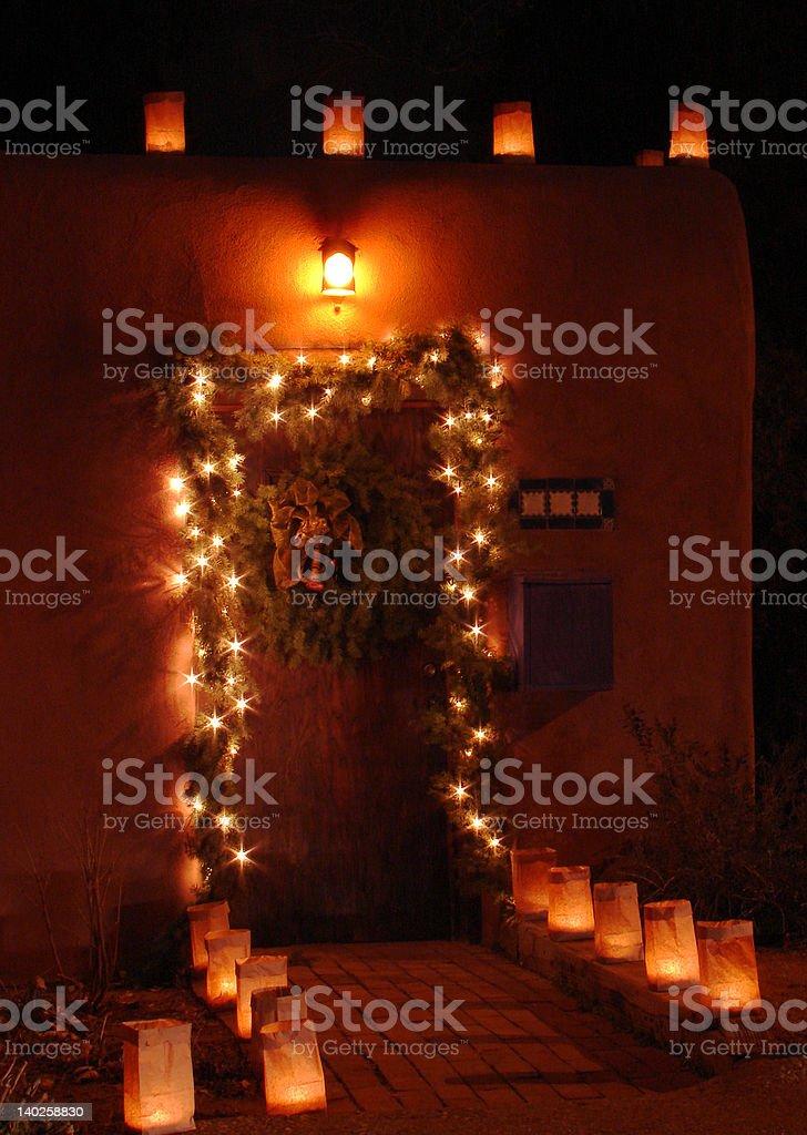Doorway and Luminarias royalty-free stock photo
