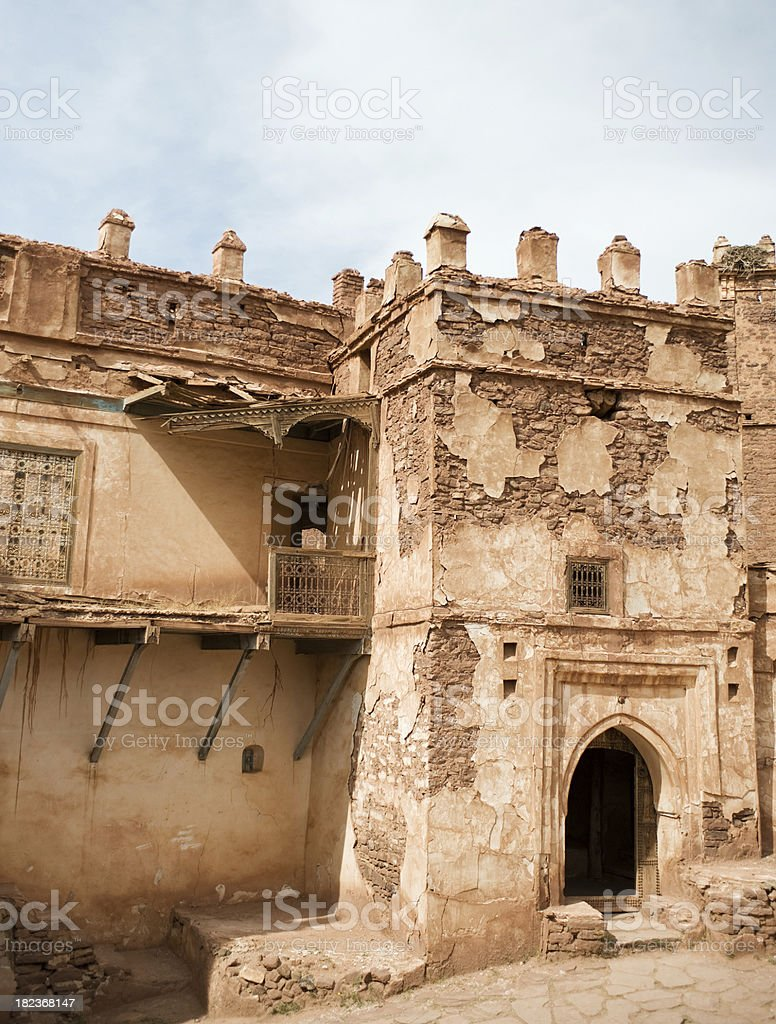 Doorway and tower of the ruined Glaoui Kasbah Morocco stock photo
