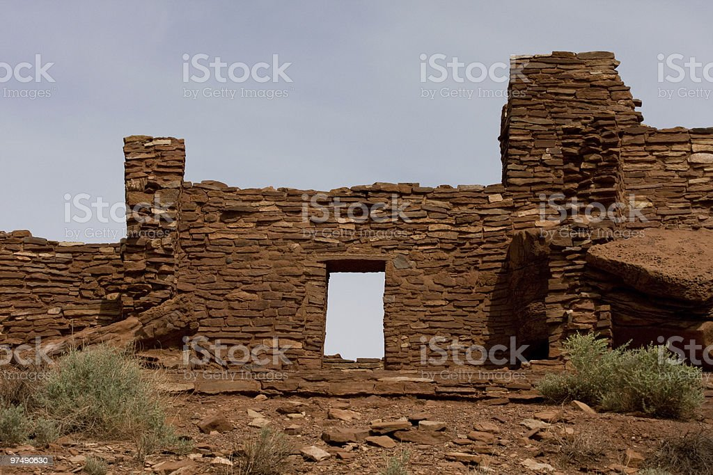 Doorway at Wupatki National monument royalty-free stock photo