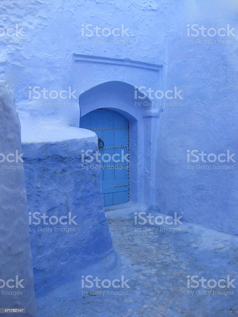 Doorway in Blue town of Chefchaouen, Morocco royalty-free stock photo