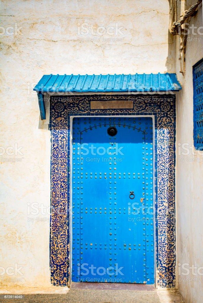 Doorway in The Fortified Kasbah of the Oudayas in Rabat stock photo