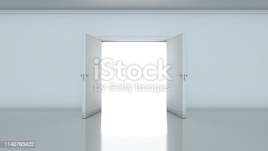 3D render of light in empty room through the opened doors. Doorway revealing bright light in dull grey room.