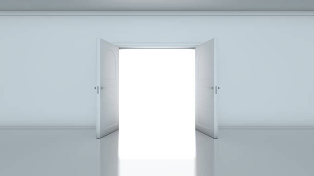 Doorway revealing bright light in dull grey room 3D render of light in empty room through the opened doors. Doorway revealing bright light in dull grey room. symmetry stock pictures, royalty-free photos & images