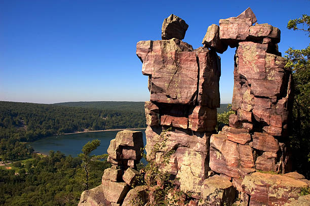 Doorway Rock Formation at Devil's Lake in Wisconsin stock photo
