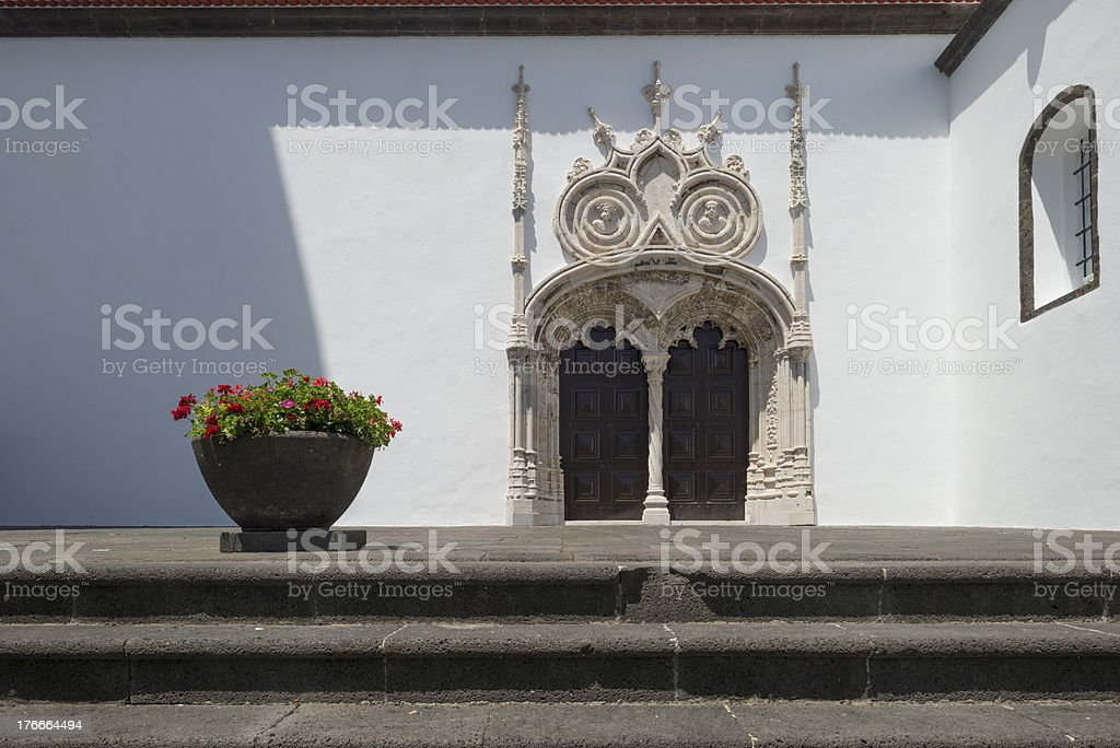 Doorway to a sunlit church royalty-free stock photo