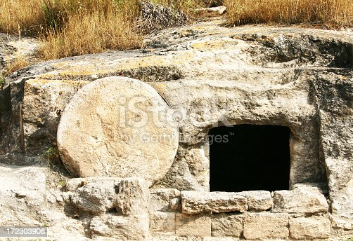 A recent tomb discovered in Israel which dates back to the first century.  Jesus would have been buried in a similar tomb with the stone rolled over the entry.