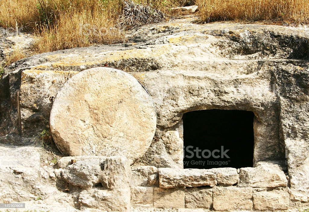 Doorway to a tomb in a rock in the Holy Land stock photo