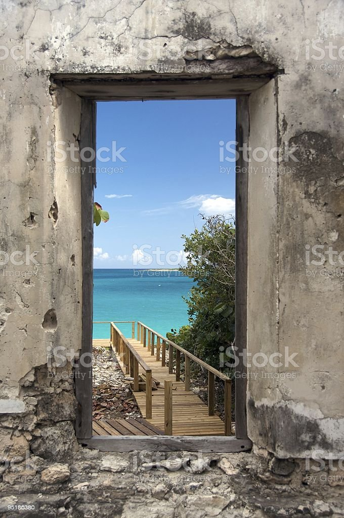 doorway to the sea stock photo