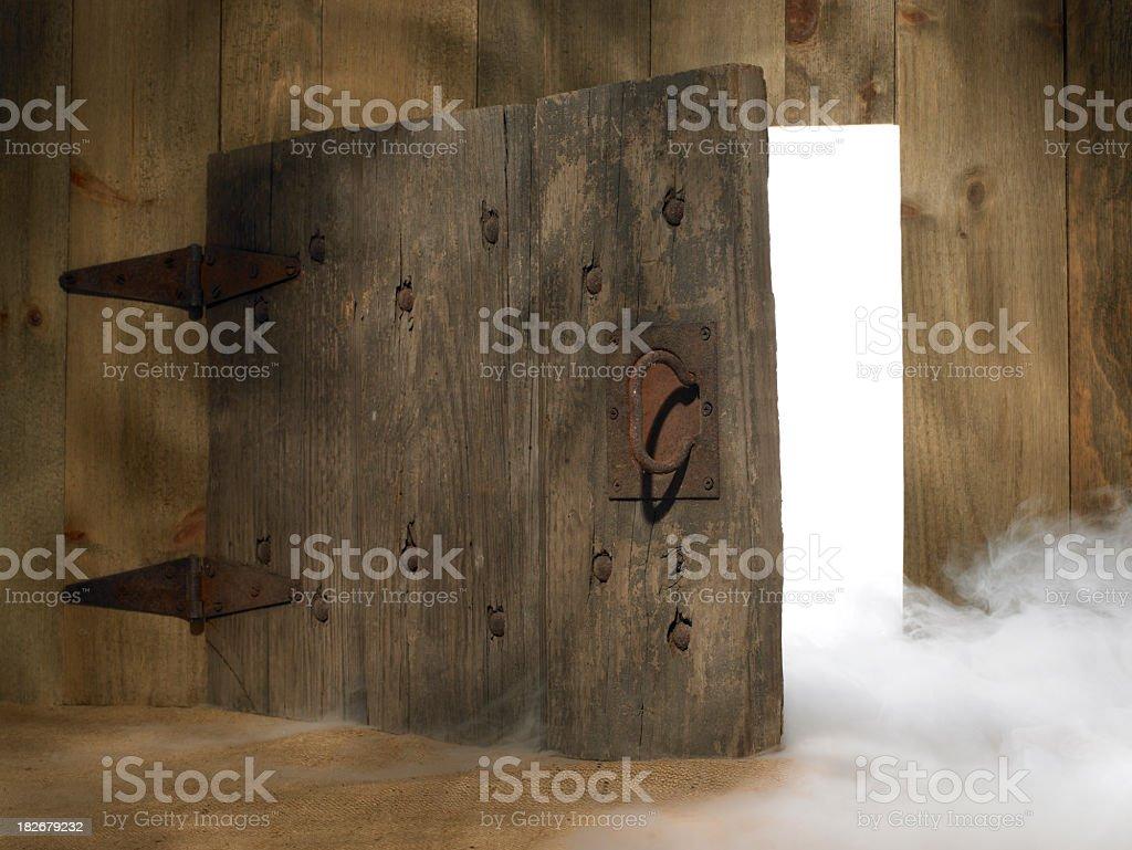 Doorway with swirling fog stock photo