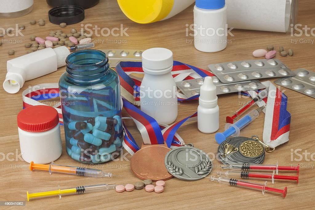 Doping in sport. Abuse of anabolic steroids for sports. stock photo
