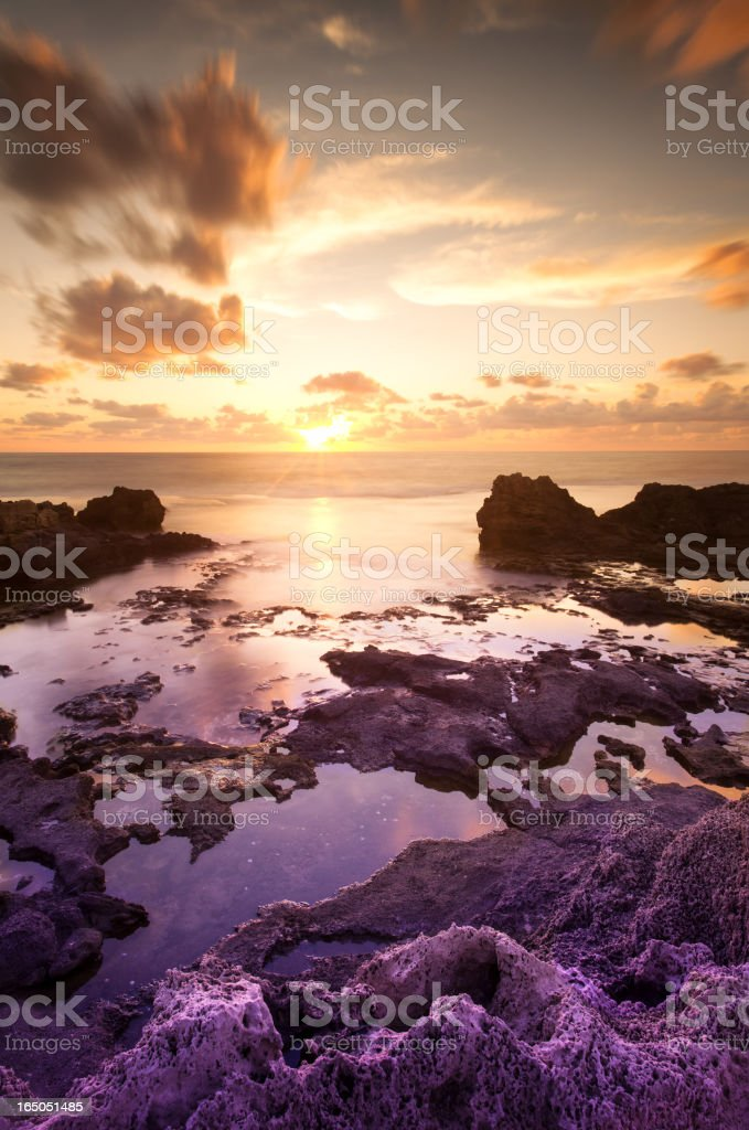 Dor Beach sunset in Israel royalty-free stock photo