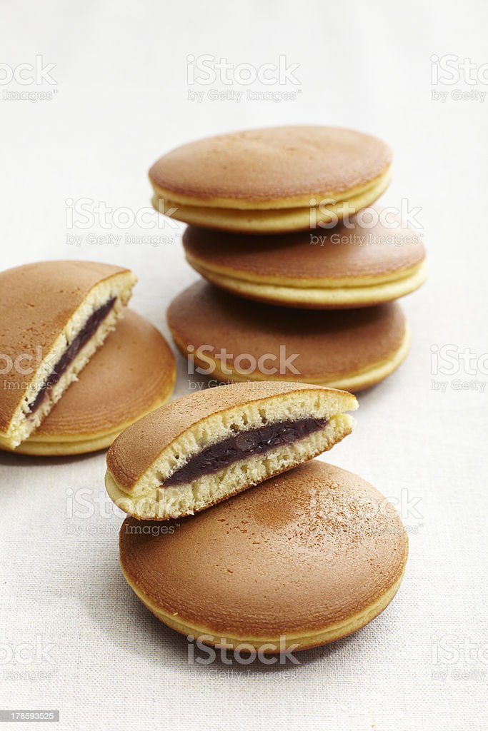 dorayaki, japanese pancakes with red bean filling stock photo