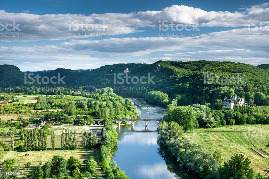 Dordogne river with Chateau Castlenaud Dordogne France stock photo