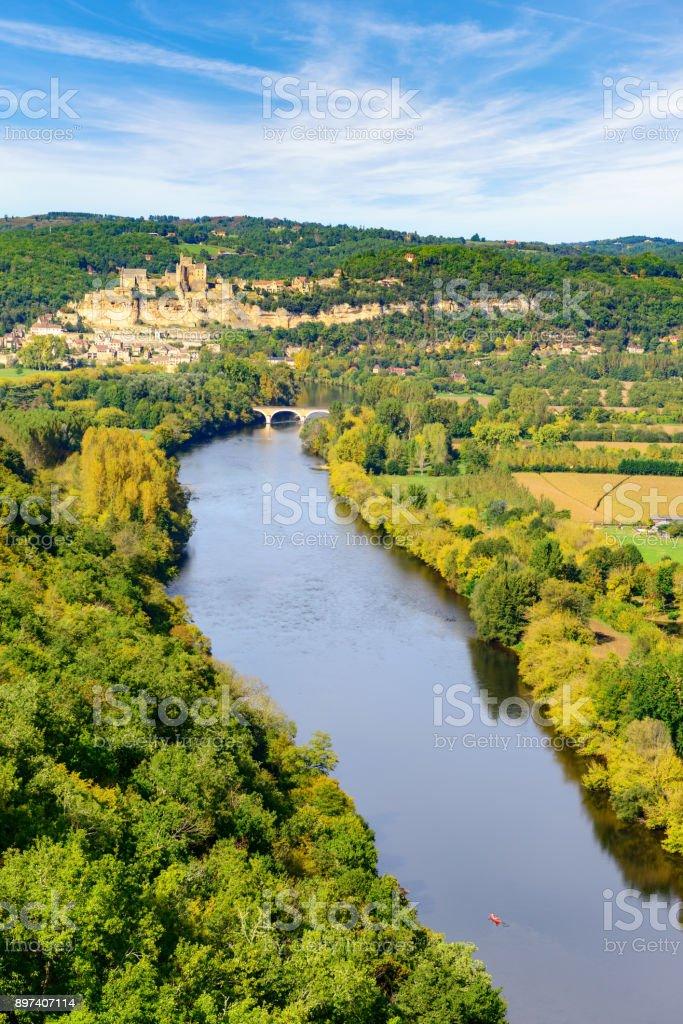 Dordogne Valley from Castelnaud Village stock photo