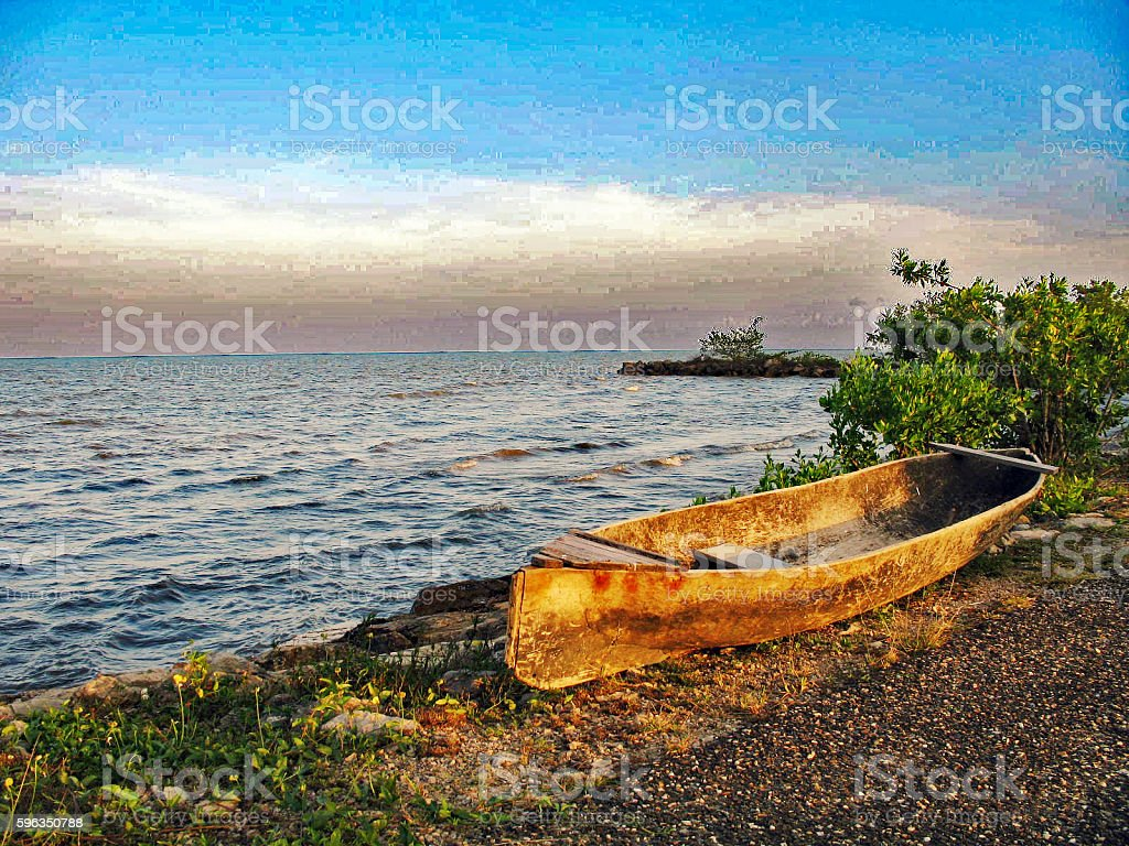 Dorey (Canoe) by the Sea royalty-free stock photo