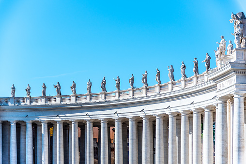 Doric Colonnade with statues of saints on the top. St. Peters Square, Vatican City