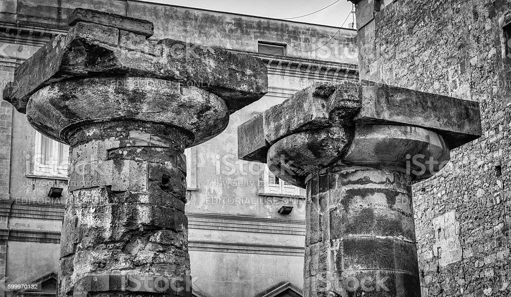 Doric columnns, Taranto, Italy stock photo