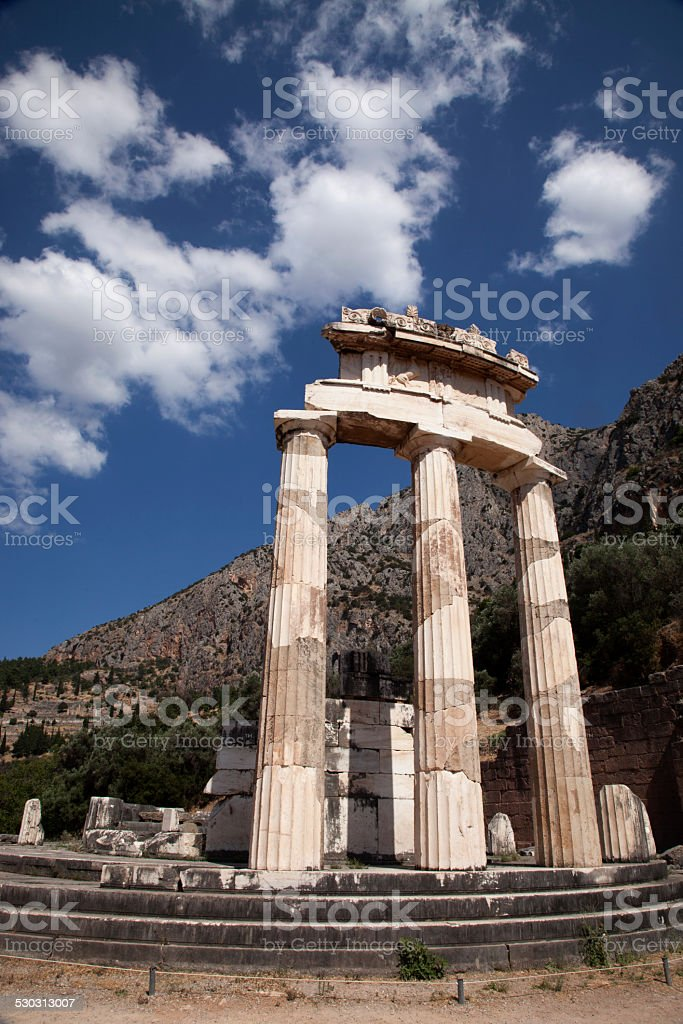 Doric columns in the ruins of the temple of Delphi stock photo