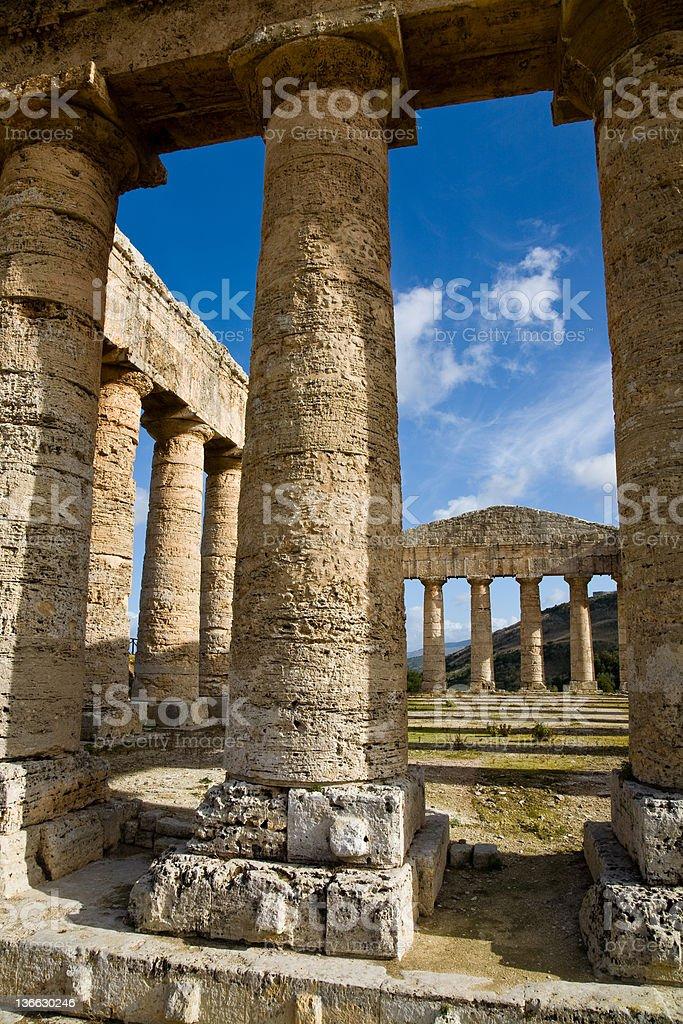 Doric columns, Segesta, Sicily royalty-free stock photo