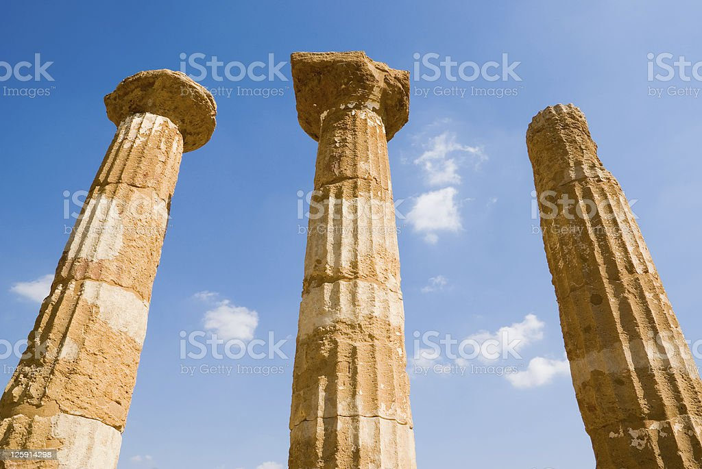 dorics columns Valley Of Temples in Agrigento royalty-free stock photo