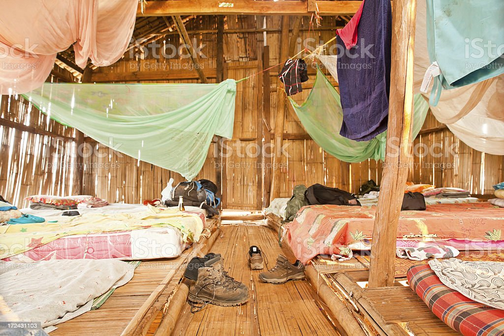 Dorm Room in a Bamboo Hut royalty-free stock photo