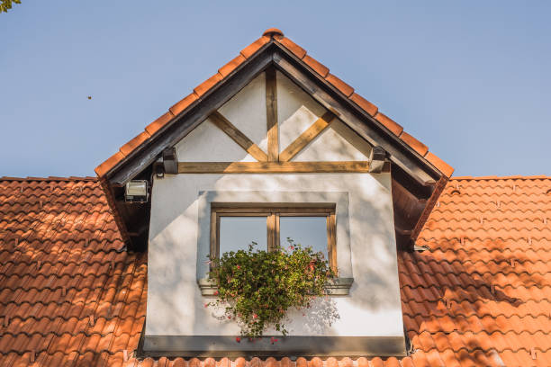 Dormer window on an old house. stock photo